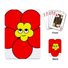 Poppy Smirk Face Flower Red Yellow Playing Card by Alisyart