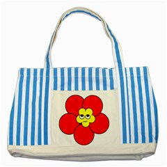 Poppy Smirk Face Flower Red Yellow Striped Blue Tote Bag by Alisyart