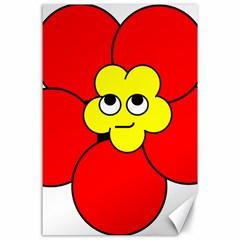 Poppy Smirk Face Flower Red Yellow Canvas 24  X 36  by Alisyart