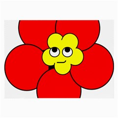 Poppy Smirk Face Flower Red Yellow Large Glasses Cloth (2 Side) by Alisyart