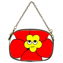 Poppy Smirk Face Flower Red Yellow Chain Purses (two Sides)  by Alisyart