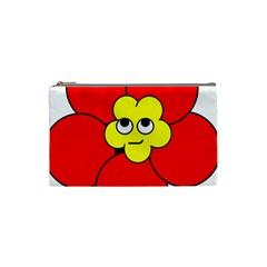 Poppy Smirk Face Flower Red Yellow Cosmetic Bag (small)  by Alisyart
