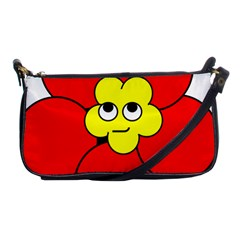 Poppy Smirk Face Flower Red Yellow Shoulder Clutch Bags by Alisyart