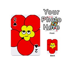 Poppy Smirk Face Flower Red Yellow Playing Cards 54 (mini)  by Alisyart