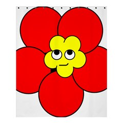 Poppy Smirk Face Flower Red Yellow Shower Curtain 60  X 72  (medium)  by Alisyart