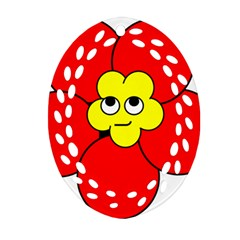 Poppy Smirk Face Flower Red Yellow Oval Filigree Ornament (two Sides) by Alisyart