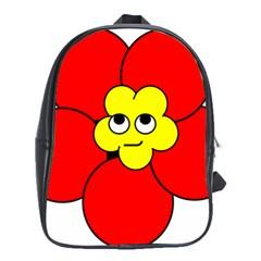 Poppy Smirk Face Flower Red Yellow School Bags (xl)  by Alisyart