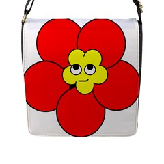 Poppy Smirk Face Flower Red Yellow Flap Messenger Bag (l)  by Alisyart