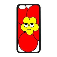 Poppy Smirk Face Flower Red Yellow Apple Iphone 5c Seamless Case (black) by Alisyart