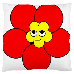 Poppy Smirk Face Flower Red Yellow Large Flano Cushion Case (one Side) by Alisyart