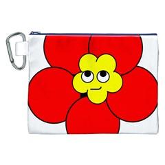 Poppy Smirk Face Flower Red Yellow Canvas Cosmetic Bag (xxl) by Alisyart