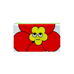 Poppy Smirk Face Flower Red Yellow Cosmetic Bag (xs) by Alisyart