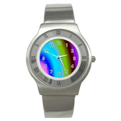 Multi Color Stones Wall Multi Radiant Stainless Steel Watch by Simbadda