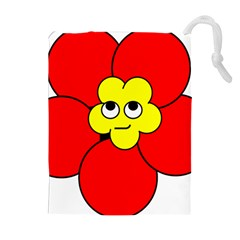 Poppy Smirk Face Flower Red Yellow Drawstring Pouches (extra Large) by Alisyart