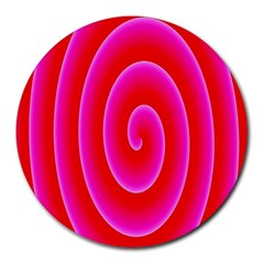 Pink Hypnotic Background Round Mousepads by Simbadda