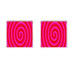 Pink Hypnotic Background Cufflinks (square) by Simbadda