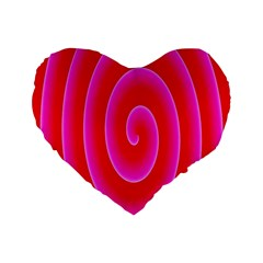 Pink Hypnotic Background Standard 16  Premium Heart Shape Cushions by Simbadda