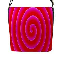 Pink Hypnotic Background Flap Messenger Bag (l)  by Simbadda