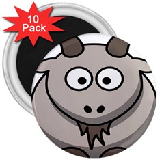 Goat Sheep Animals Baby Head Small Kid Girl Faces Face 3  Magnets (10 Pack)  by Alisyart