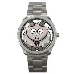 Goat Sheep Animals Baby Head Small Kid Girl Faces Face Sport Metal Watch by Alisyart