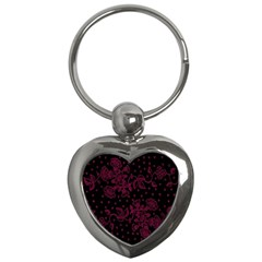 Floral Pattern Background Key Chains (heart)  by Simbadda