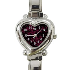 Floral Pattern Background Heart Italian Charm Watch by Simbadda