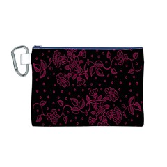 Floral Pattern Background Canvas Cosmetic Bag (m) by Simbadda
