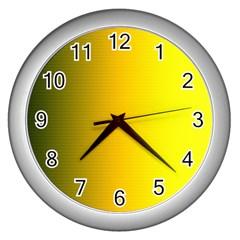 Yellow Gradient Background Wall Clocks (silver)  by Simbadda