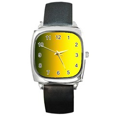 Yellow Gradient Background Square Metal Watch by Simbadda