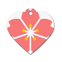 Sakura Heart Guild Flower Floral Dog Tag Heart (two Sides) by Alisyart