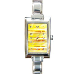 Yellow Curves Background Rectangle Italian Charm Watch by Simbadda