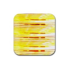 Yellow Curves Background Rubber Coaster (square)  by Simbadda