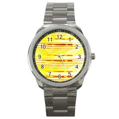 Yellow Curves Background Sport Metal Watch by Simbadda