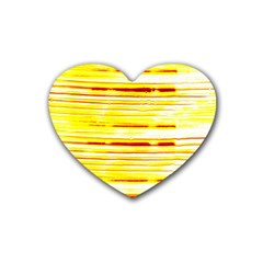 Yellow Curves Background Rubber Coaster (heart)  by Simbadda