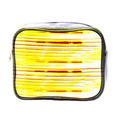 Yellow Curves Background Mini Toiletries Bags by Simbadda