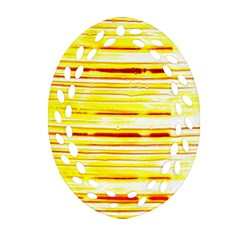 Yellow Curves Background Oval Filigree Ornament (two Sides) by Simbadda
