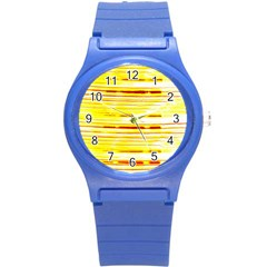 Yellow Curves Background Round Plastic Sport Watch (s) by Simbadda