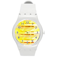 Yellow Curves Background Round Plastic Sport Watch (m) by Simbadda