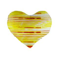 Yellow Curves Background Standard 16  Premium Flano Heart Shape Cushions by Simbadda