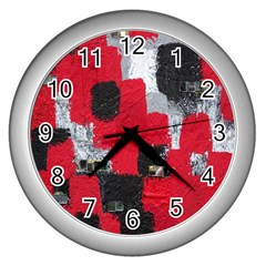 Red Black Gray Background Wall Clocks (silver)  by Simbadda