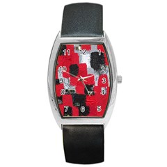Red Black Gray Background Barrel Style Metal Watch by Simbadda