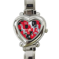 Red Black Gray Background Heart Italian Charm Watch by Simbadda