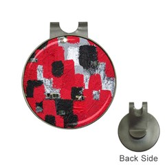 Red Black Gray Background Hat Clips With Golf Markers by Simbadda