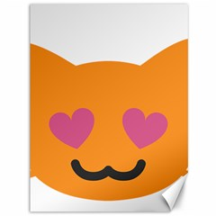 Smile Face Cat Orange Heart Love Emoji Canvas 36  X 48   by Alisyart