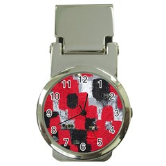 Red Black Gray Background Money Clip Watches by Simbadda