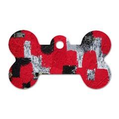 Red Black Gray Background Dog Tag Bone (two Sides) by Simbadda