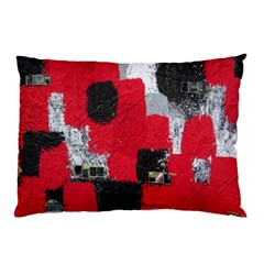 Red Black Gray Background Pillow Case by Simbadda
