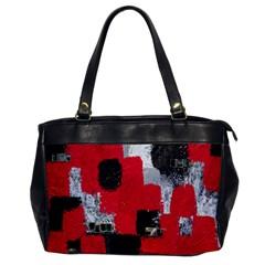 Red Black Gray Background Office Handbags by Simbadda