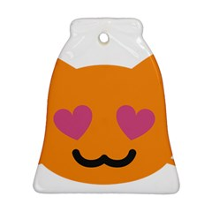 Smile Face Cat Orange Heart Love Emoji Bell Ornament (two Sides) by Alisyart