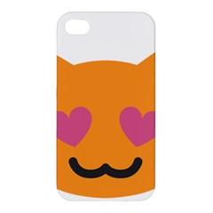 Smile Face Cat Orange Heart Love Emoji Apple Iphone 4/4s Hardshell Case by Alisyart